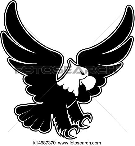 Clip Art of Eagle landing. k13971517.