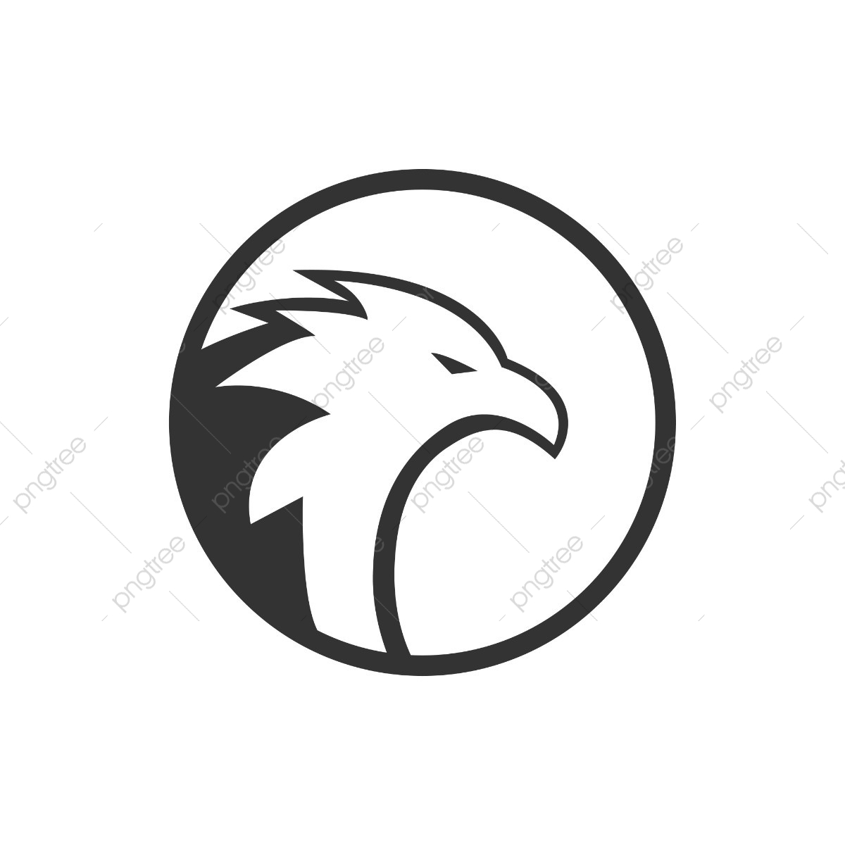 Circle Eagle Logo Concept, Predator, Template, White PNG and Vector.