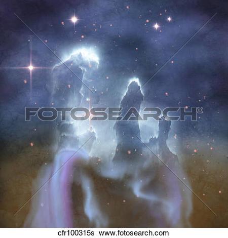 Stock Illustration of Pillars of Creation in the Eagle Nebula.