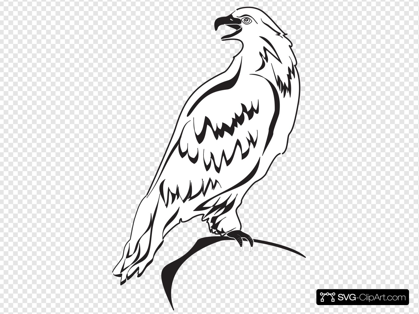 Perched Eagle Outline Clip art, Icon and SVG.