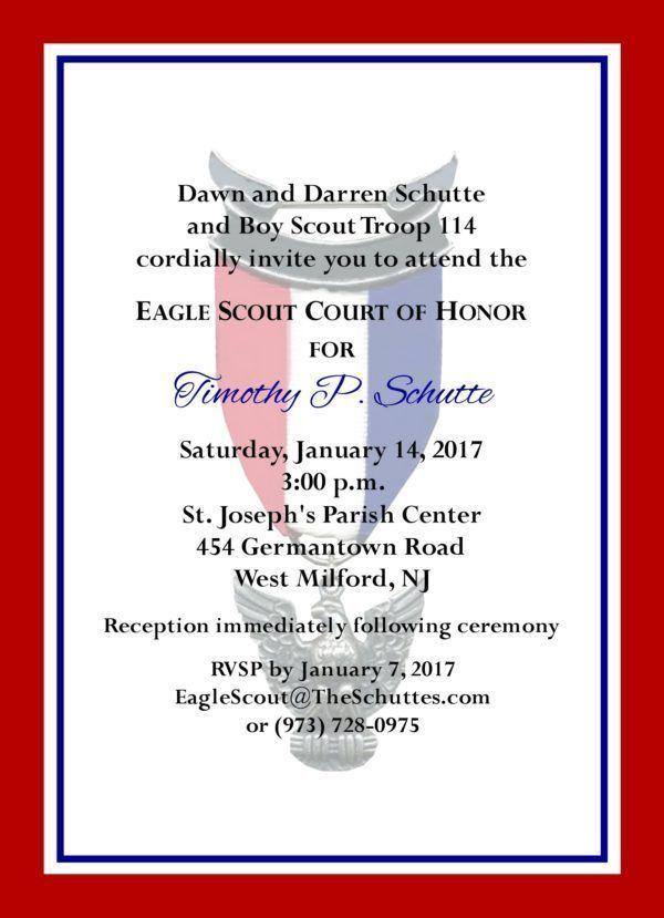 Simple Honors (Border) Eagle Scout Invitation.