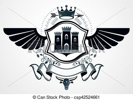 Clip Art Vector of Classy emblem made with eagle wings decoration.