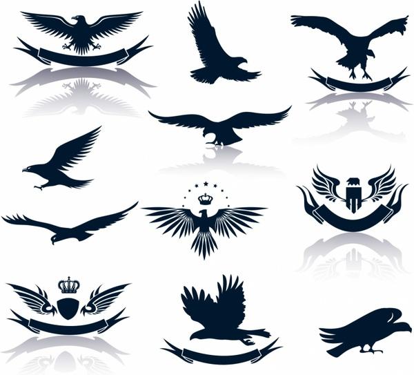 Set of eagles silhouettes Free vector in Adobe Illustrator ai ( .AI.