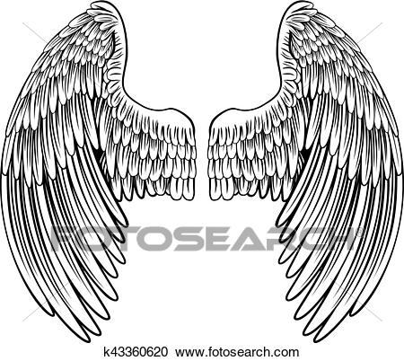 Pair of Angel or Eagle Wings Clipart.