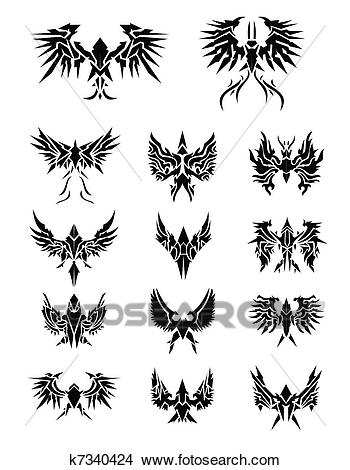 14 Set of eagle wings Clipart.