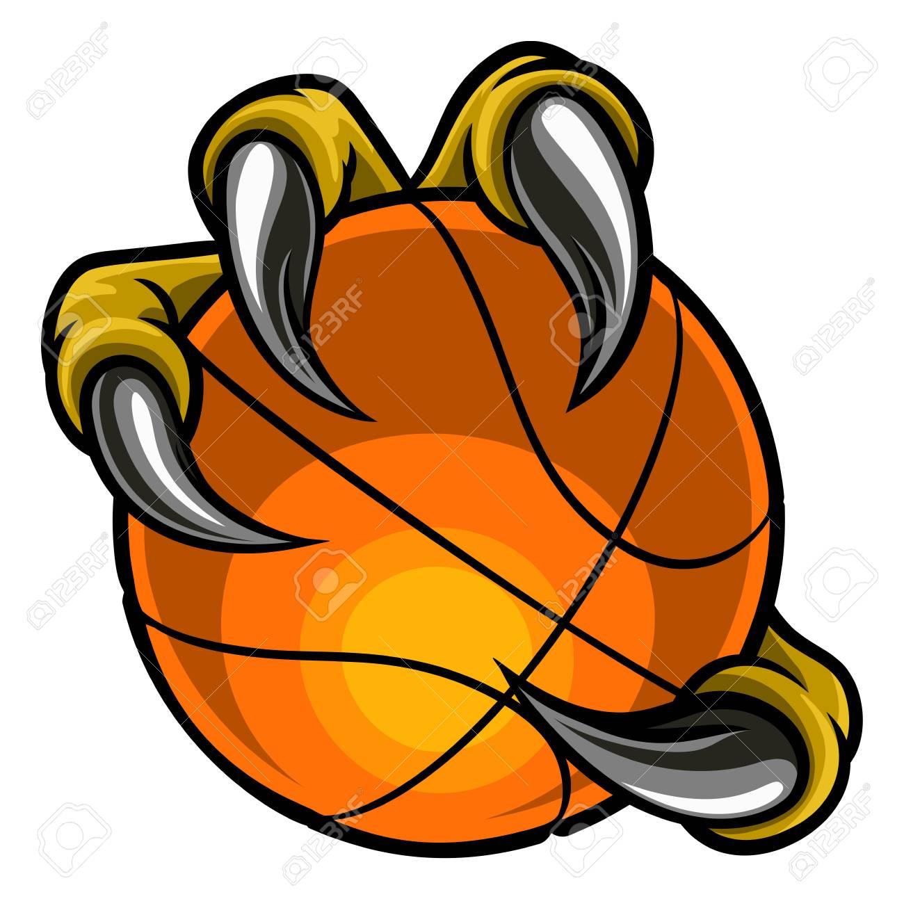 Eagle Bird Monster Claw Holding Basketball Ball.