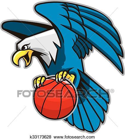 Flying Bald Eagle Grab Basketball Clip Art.