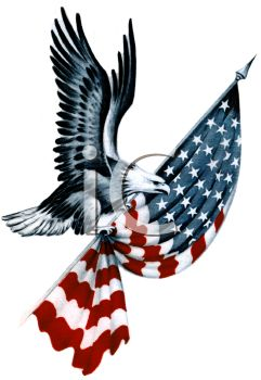 Royalty Free Clip Art Image: American Eagle Carrying a Folded Flag.