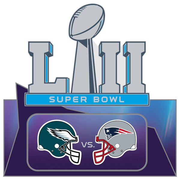 Philadelphia Eagles vs. New England Patriots Super Bowl LII Dueling Pin.
