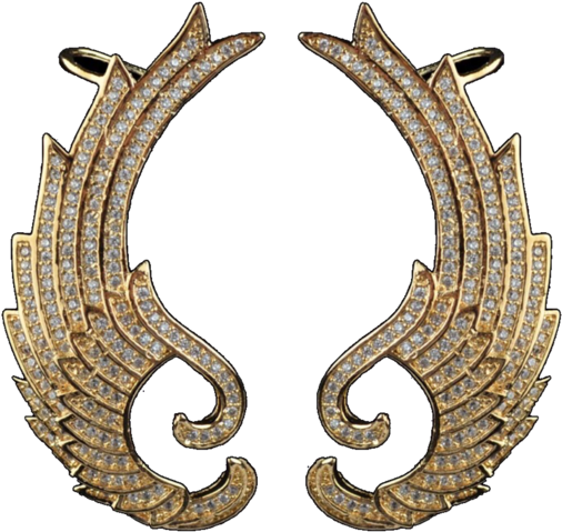 Elegant Phoenix Wings Art Deco Gold Ear Cuff, Body Clipart.