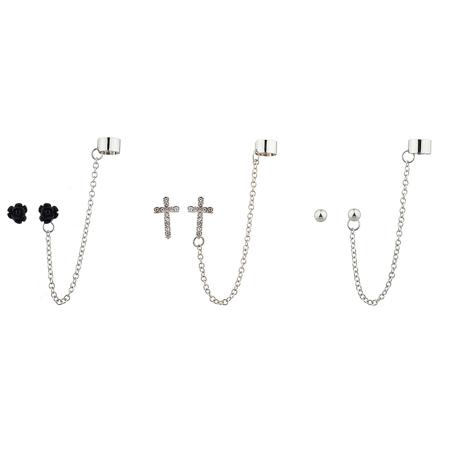 Lux Accessories Silvertone flower and cross ear cuff Multi Earring Set (3PC).