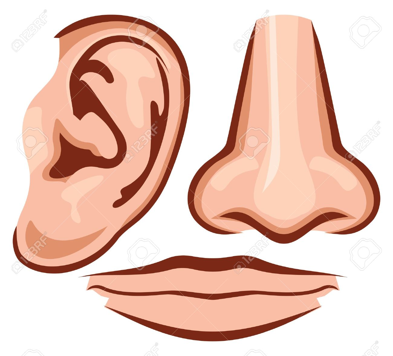 Ears and Nose and Mouth Clip Art.