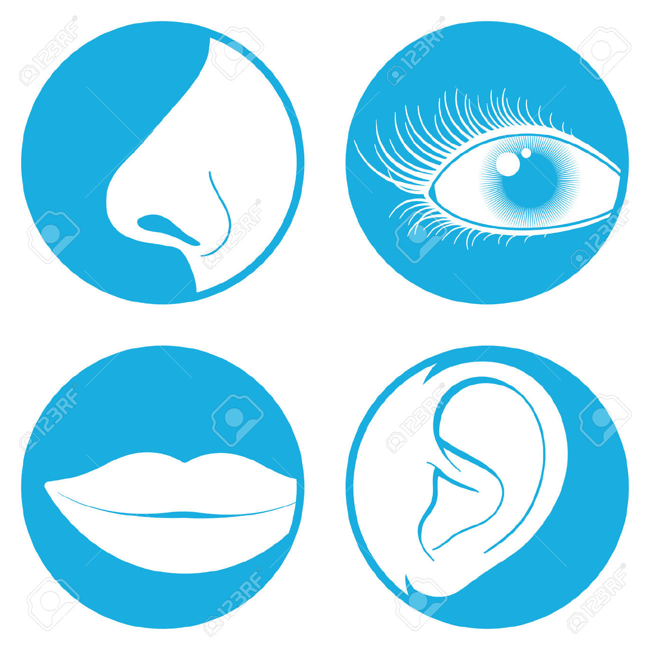 Nose, Eye, Mouth And Ear Pictograms Royalty Free Cliparts, Vectors.