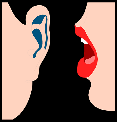 Clip art whispering in ear clipart image #12136.