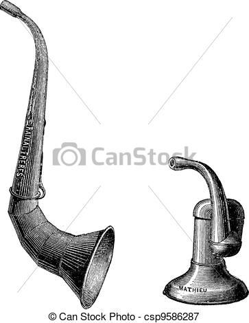 Vectors Illustration of Ear trumpets, vintage engraving..