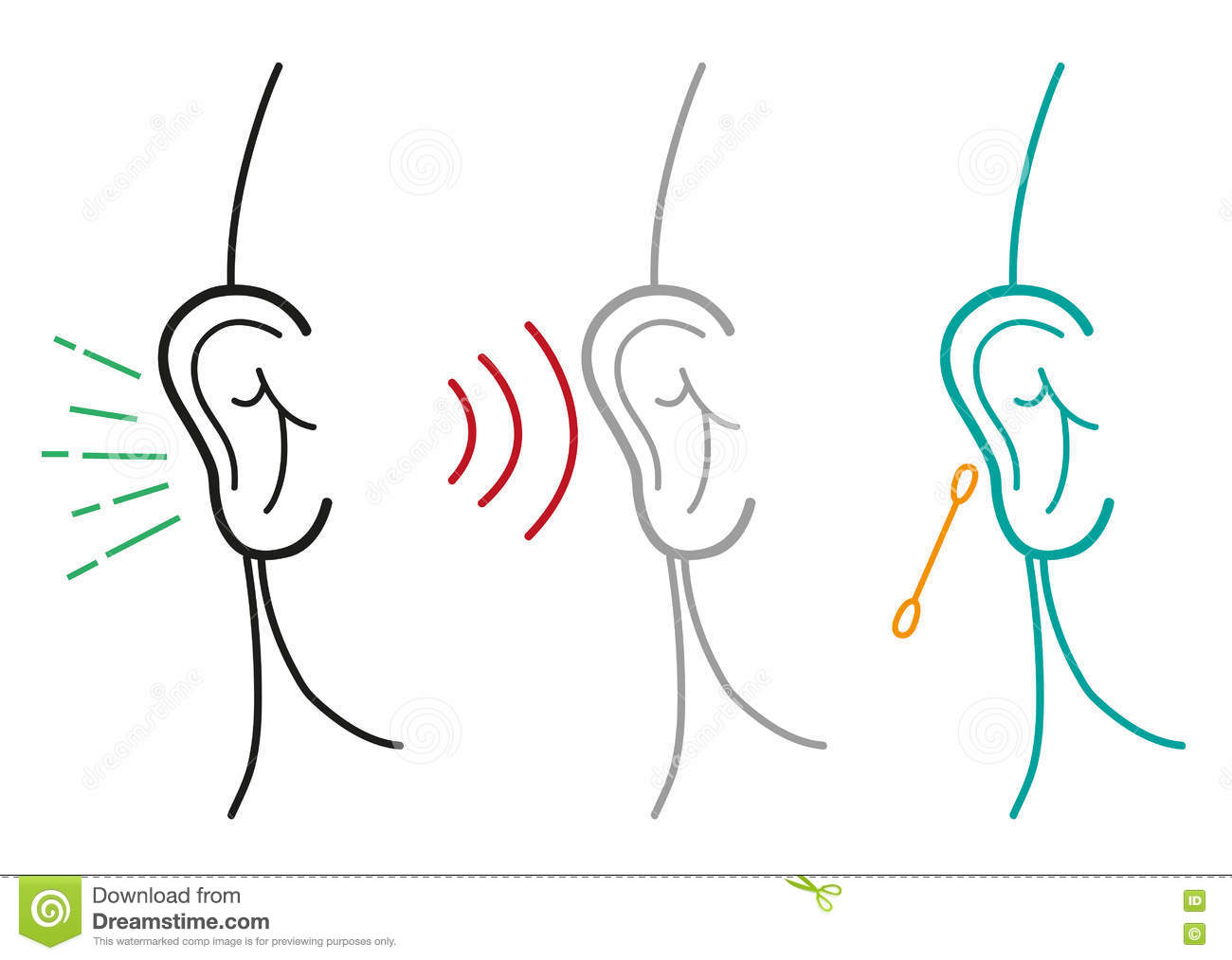 Set Of Human Ear Illustration In Outline Art Style. Editable Clip.