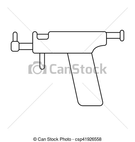 Clipart Vector of Ear piercing gun icon in outline style isolated.