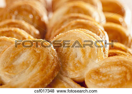 Pictures of Pigs ear shaped pastries, close up csf017348.