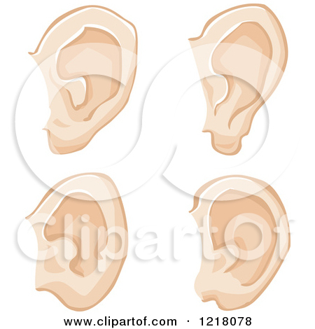 Clipart of a Black and White Human Ear.