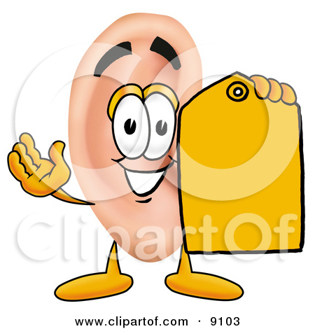 Clipart Picture of an Ear Mascot Cartoon Character Holding a.
