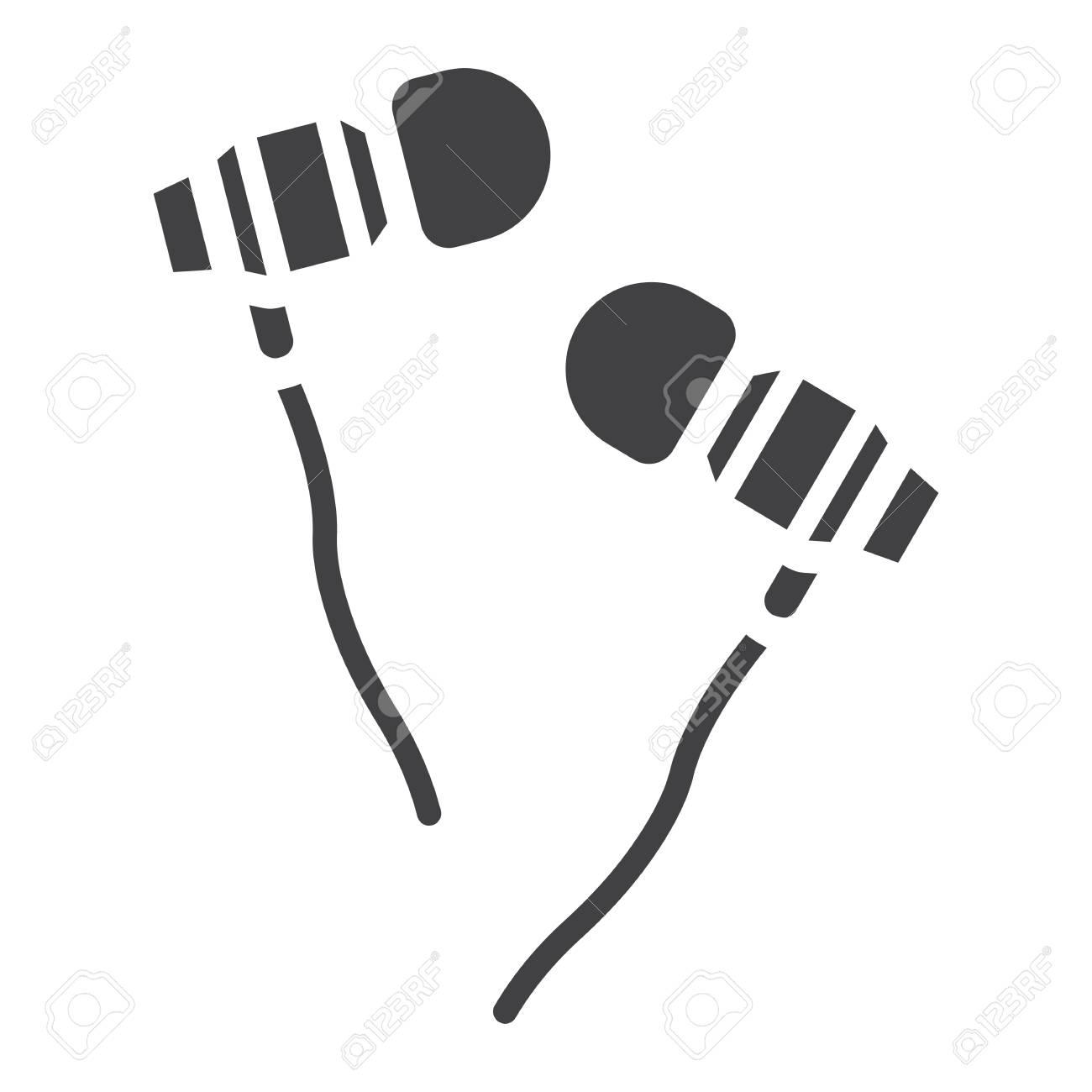 Earphones icon, clip.