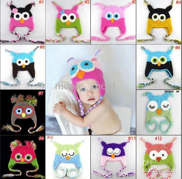 Retail Baby Crochet Owl Hat Caps Children Animal Handmade Hat.