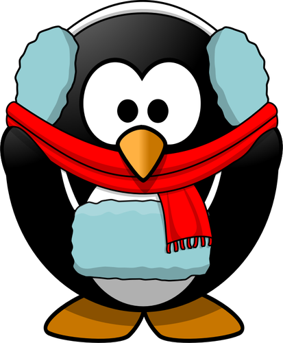 Vector graphics of penguin in winter clothes.