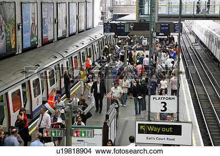 Stock Photo of England, London, Earls Court Tube Station. Rush.