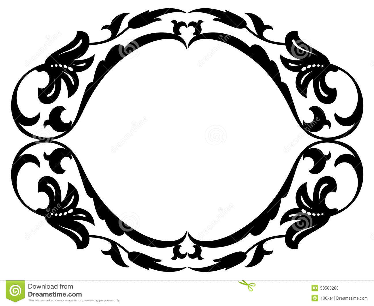 Oval Baroque Ornamental Decorative Frame Stock Vector.