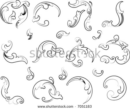 Baroque Clipart. Calligraphy Style. All Curves Separately. Stock.