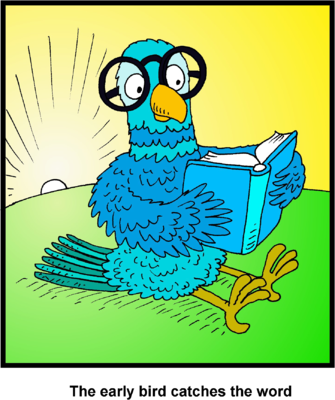 Image: Clip art of Bird reading Bible.