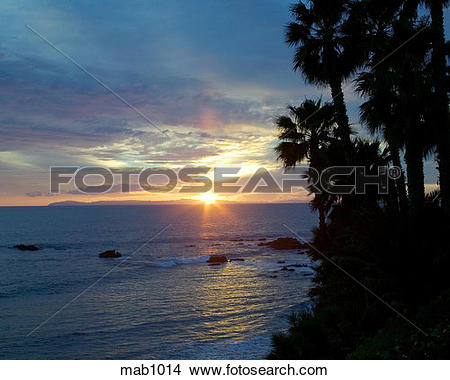Stock Photo of Early evening sunset view from Catalina Island off.