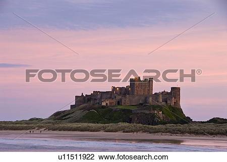 Stock Photo of England, Northumberland, Bamburgh, Early evening.
