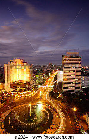 Stock Photography of Early evening view of the Hotel Indonesia.
