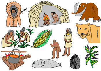 Early Humans and Stone Age Clip Art, 24 Images Color AND 24 Black/White.