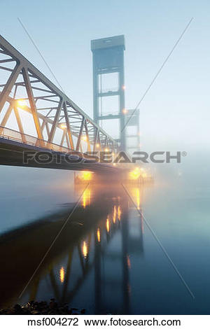 Stock Photo of Germany, Hamburg, Bridge with early morning fog.