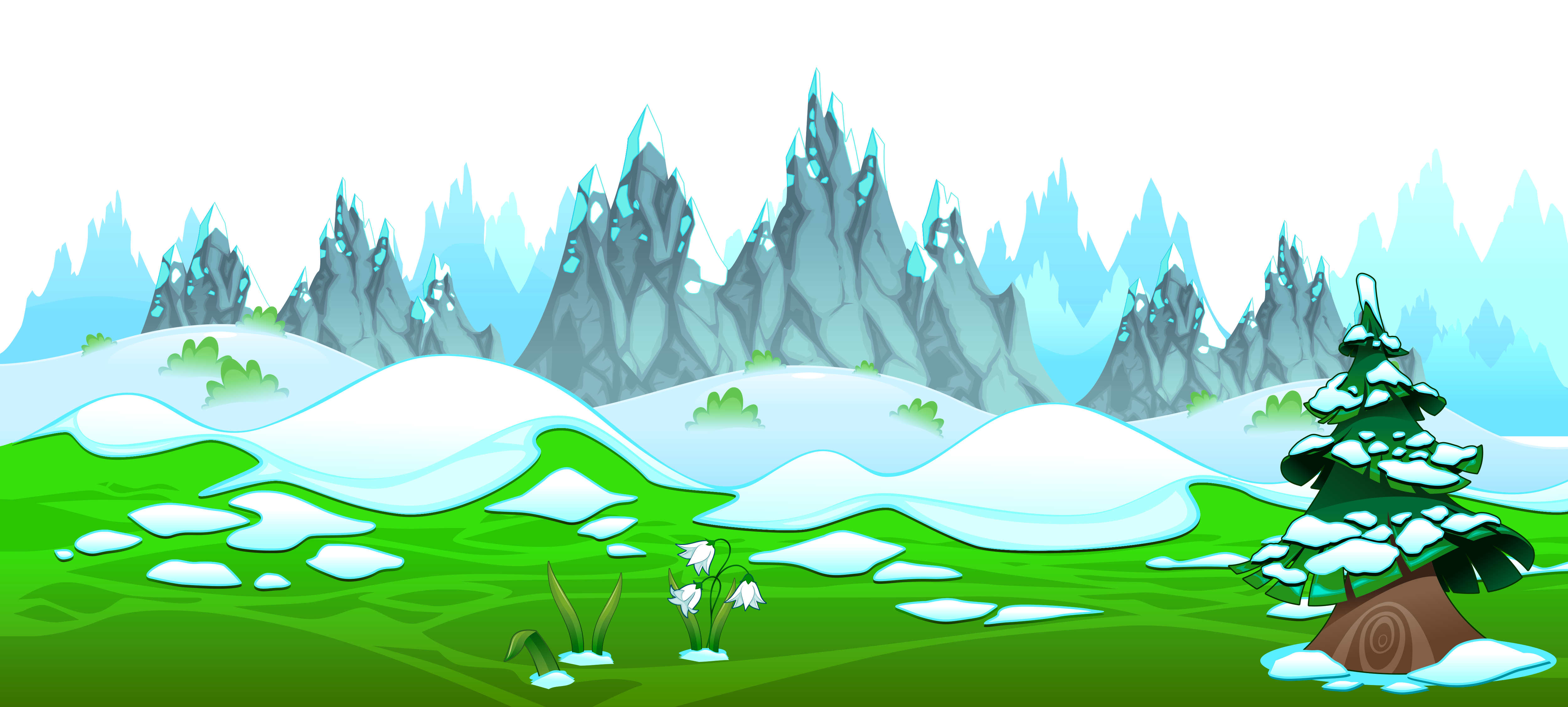 Early Spring with Icy Mountains Ground PNG Clipart.