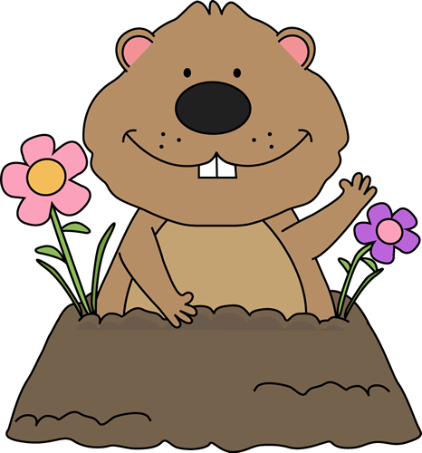 Spring Groundhog Clip Art.