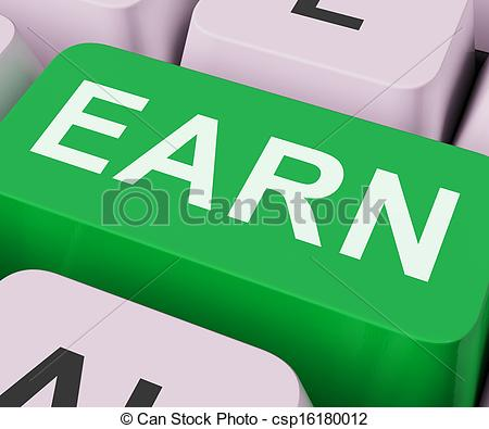 Clipart of Earn Key Shows Earning Or Getting Work Online.