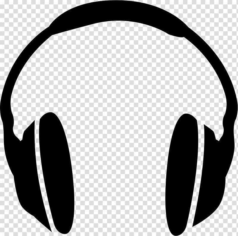 Headphones grayscale illustration, Headphones Audio.