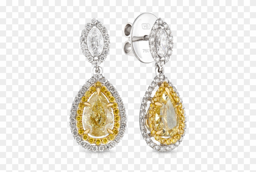 18ct Yellow Gold And Platinum Pear Diamond Earring.