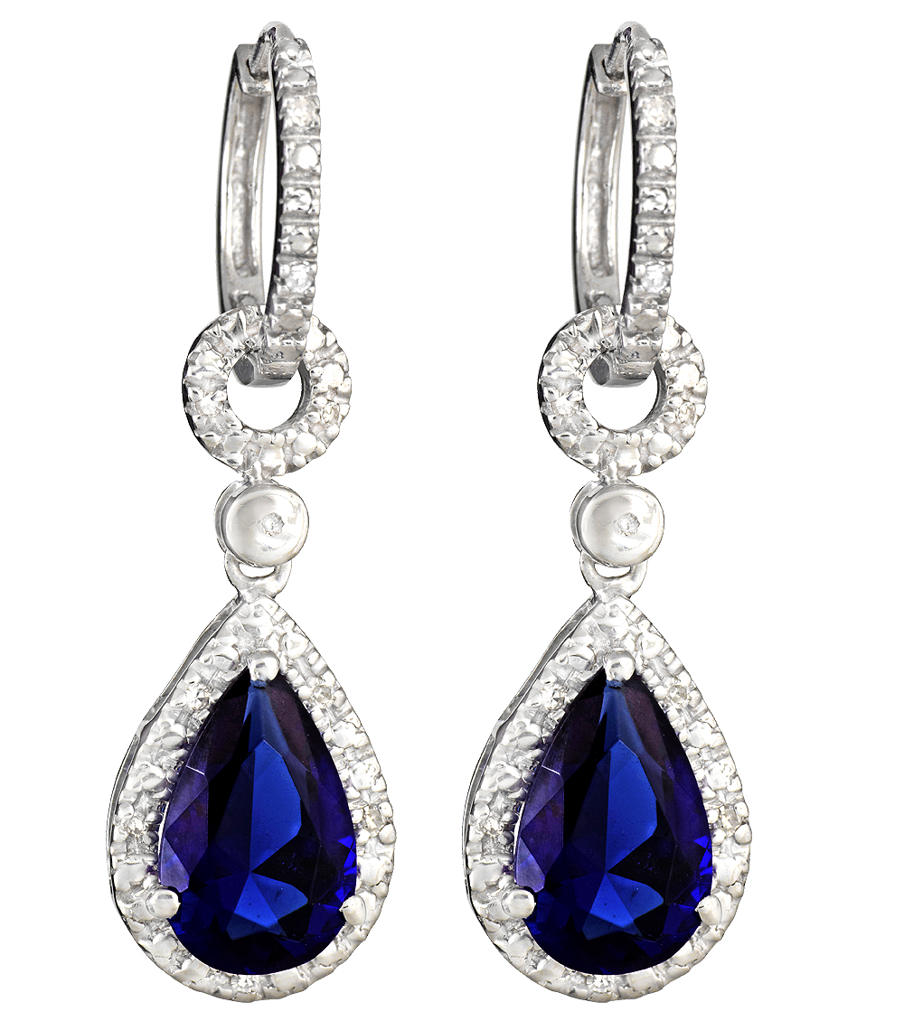 Download Blue Diamond Earrings PNG Image for Free.