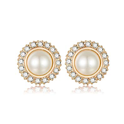 Clip On Pearl Earrings with Art Vintage Wedding Style.