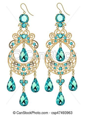 Illustration of vintage jewelry earrings with green gemstone.