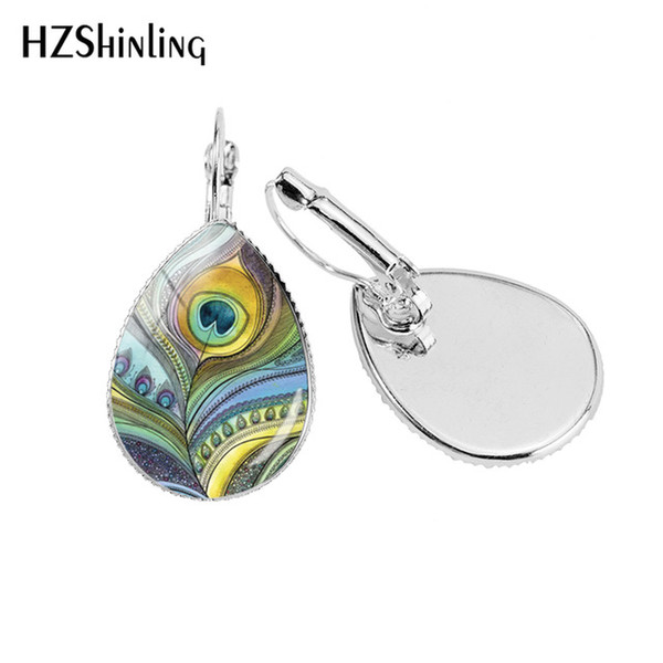 2019 2019 New Peacock Feather Ear Clip Art Painting Earring Clips Glass  Dome Jewelry Hand Craft From Autumngirl, $2.82.
