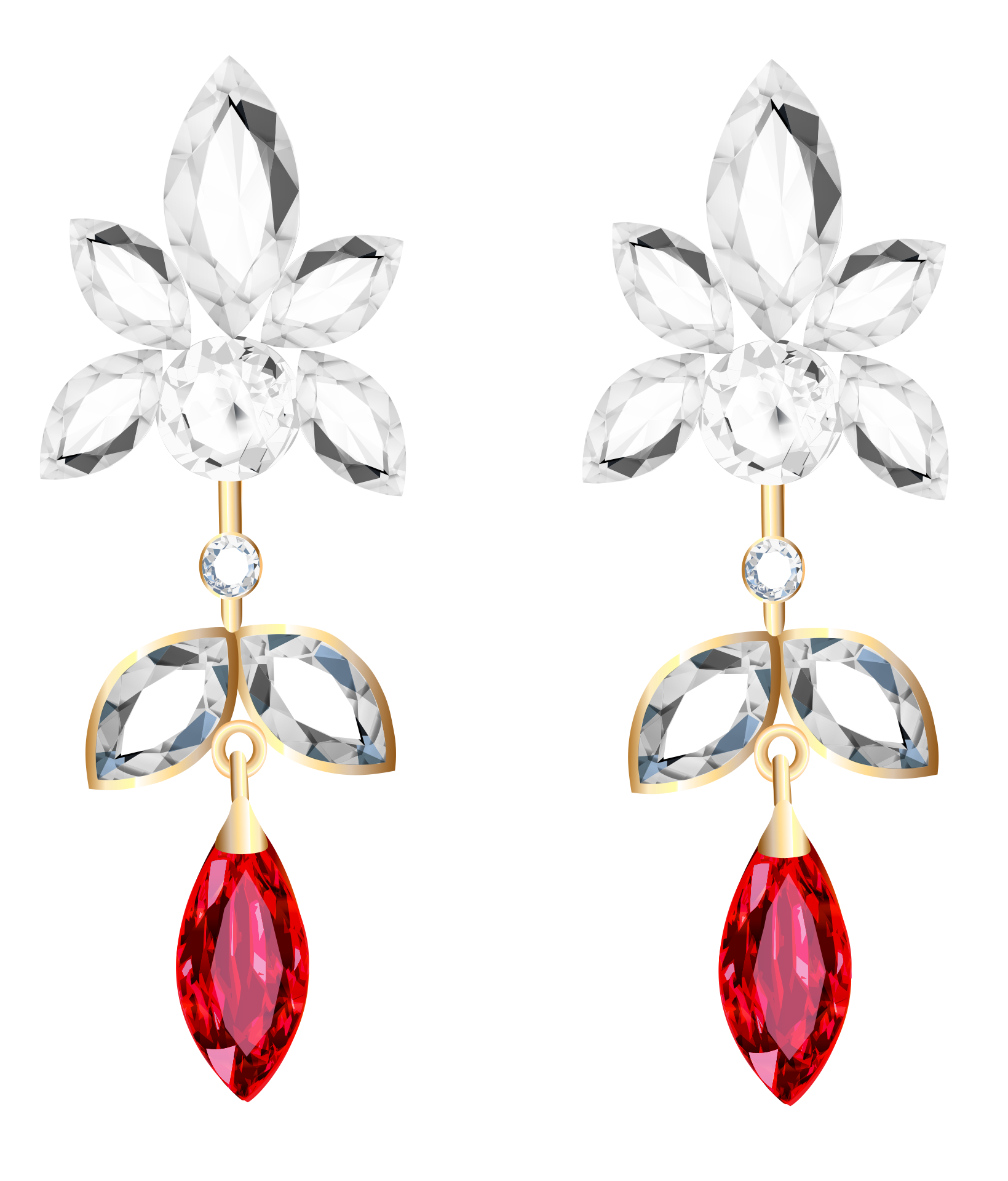 Transparent Diamond and Ruby Earrings PNG Clipart.