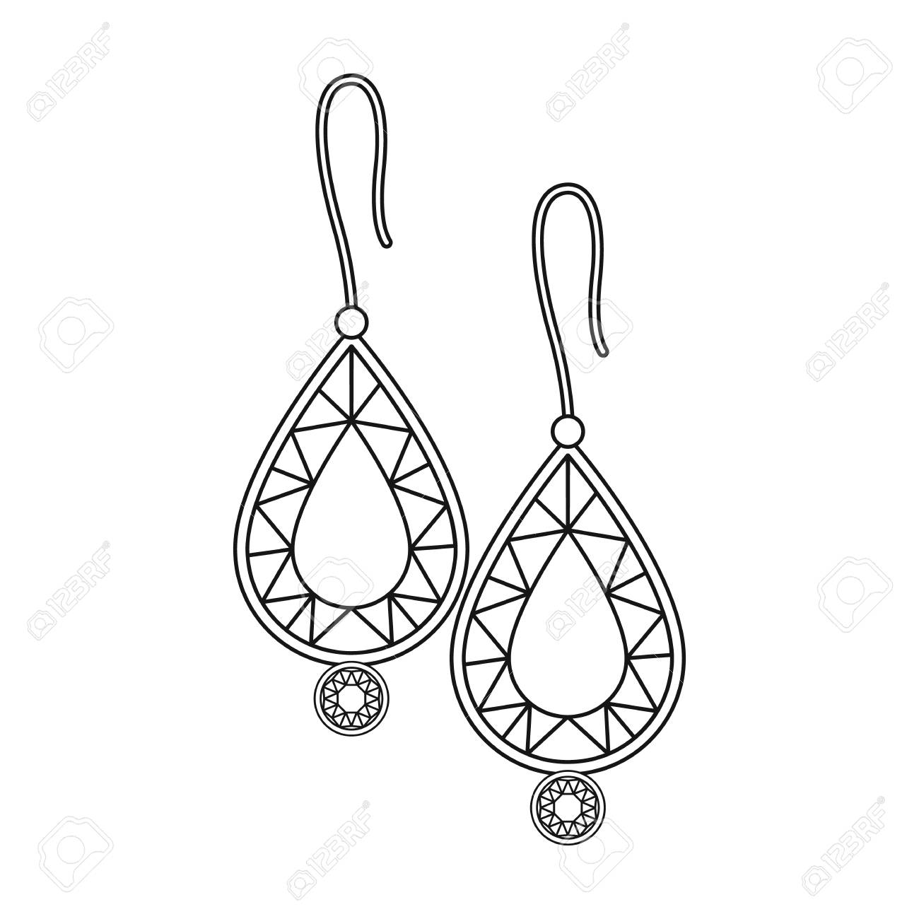 Earrings with gems icon in outline style isolated on white background.