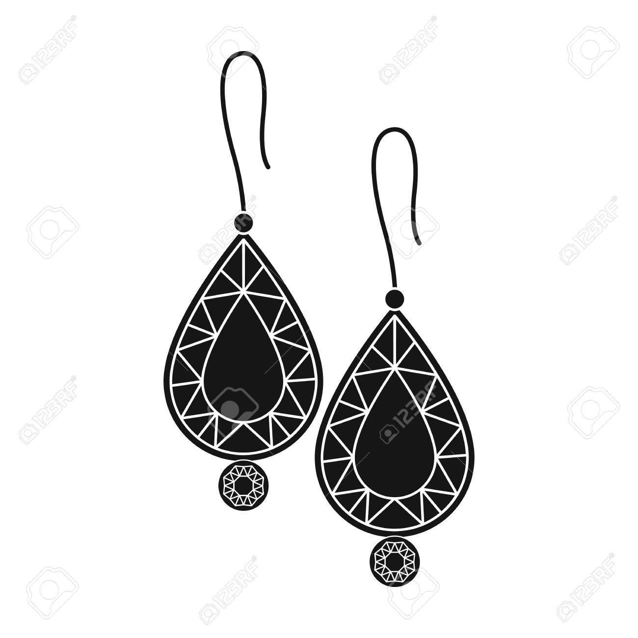 Earrings with gems icon in black style isolated on white background.