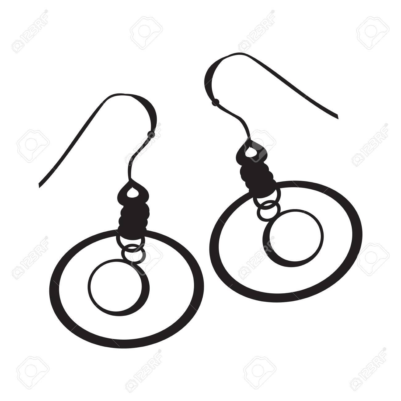 Silhouette of a pair of earrings, Vector illustration.