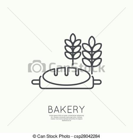 Vector of loaf of bread and wheat ears.